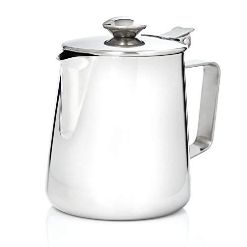 Kerafactum Kaffeekännchen Milchkännchen Sahnekännchen Teekanne Kaffeekanne Sahne Kännchen Kanne mit Deckel für Milch Tee Kaffee 350 ml Edelstahl Pitcher Milk can Henkelkanne