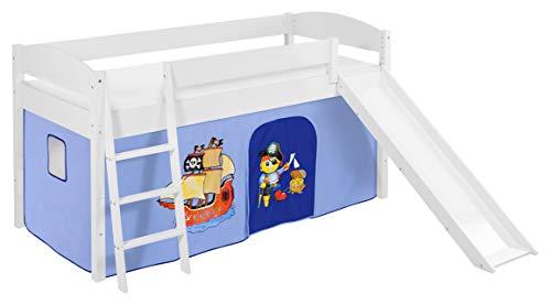 Lilokids Spielbett IDA 4105 Pirat Blau-Teilbares Systemhochbett weiß-mit Rutsche und Vorhang Kinderbett Holz 208 x 220 x 113 cm