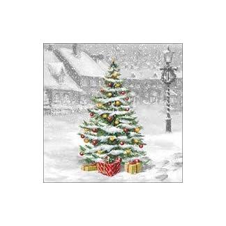 4 servilletas de papel para decoupage – 3 capas, 33 x 33 cm – Navidad – Árbol en cuadrado (4 servilletas individuales para manualidades y arte de servilletas)