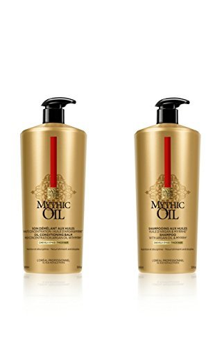 L Oreal Professional Mythic Oil Shampoo and Conditioner Duo with pumps For Thick Hair 1000ml ...