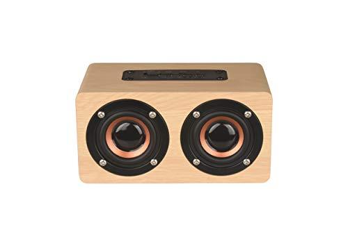 Altavoz Bluetooth 4.2 Inalámbrico, Reloj Despertador de Madera, LED Pantalla, Alarma Programable, Llamada Manos Libres, Soporta TF Tarjeta, Batería de 1500mAh, Color Amarillo