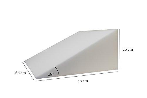 Bettkeil Schlafkeil Bauchkeil von Formalind - Schaumstoff-Keil 60x40x20 cm Schlaferhöhung/Keilkissen für eine Entlastung der Wirbelsäule