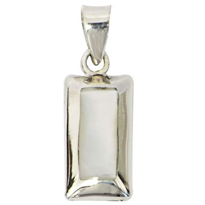 Chic-Net Ladies Pendant Mother of Pearl Shell 925Sterling Silver Rectangle White Edge 8x 16mm