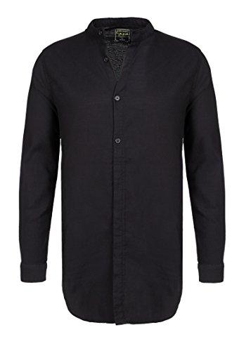 Sublevel camicia da uomo a manica lunga con colletto alla coreana | camicia business basic in cotone con vestibilità regolare nero m