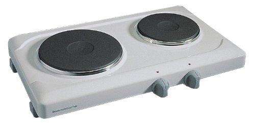 ROMMELSBACHER THS 2590 Doppelkochplatte (Made in Germany, 2 langlebige Gussheizplatten, 145mm/1000 W, 180mm/1500 W) weiß