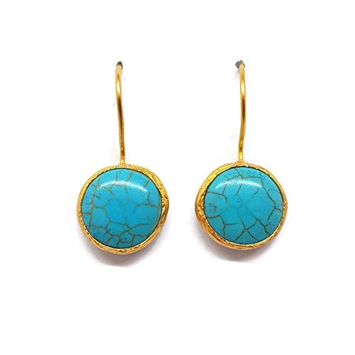 Mystic jewels by dalia-orecchini lunghi rotonde con pietra naturale donna feste nuziali, colori assortiti e ottone, colore: turchese, cod. 1
