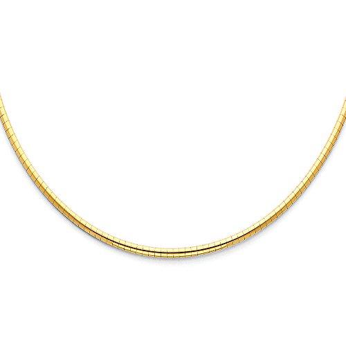 Gold 14k Halskette Gelb Omega (Solide 14K Gelb Gold 2,5mm Funkeln Omega Halskette–45,7cm)