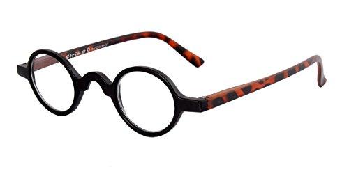 STRIKE Eyewear Lesebrille Lesehilfe kleine runde Gläser matt schwarz Schildpatt Optik +1