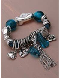 Corded And Silver Bead Charm Bracelet (Black)
