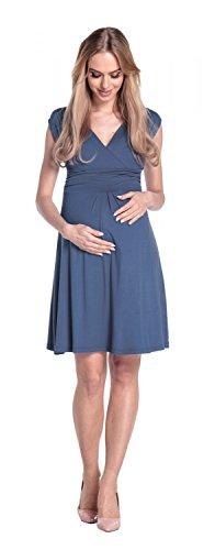 Happy Mama Donna Abito Prémaman per L'allattamento Vestito Estivo Elegante 256p Blu Grigio