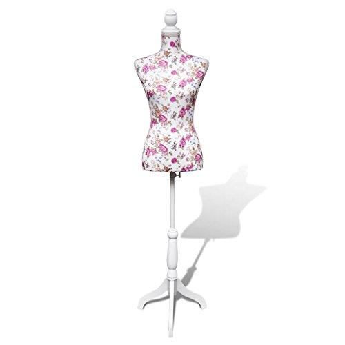 vidaXL Maniquí de Busto Femenino de Señora Yute Blanco y Rosa Figura Modista