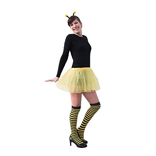 y Biene Kostüm Accessoire Set für Damen mit Bienen Wackel Bommel Haarreifen + Ringel Strumpfhose für Fasching Karneval Motto Party Gelb Schwarz ()