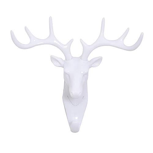 KDSANSO Perchero Autoadhesivo Creativo Cabeza De Ciervo Fuerte Gancho Inconsútil Decorativo Animal Cabeza Resina Artesanía 1 Piezas Blanco 18.5 * 17cm