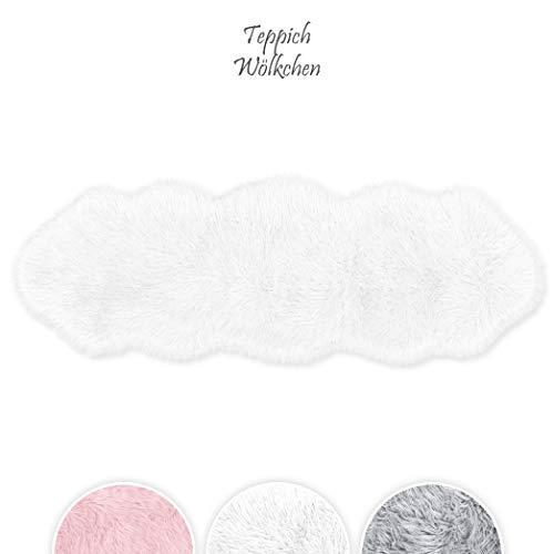 Teppich Wölkchen Lammfell-Teppich Lang Kunstfell Schaffell Imitat | Wohnzimmer Schlafzimmer Kinderzimmer | Als Faux Bett-Vorleger oder Matte für Stuhl Sofa (Weiß - 55 x 160 cm)