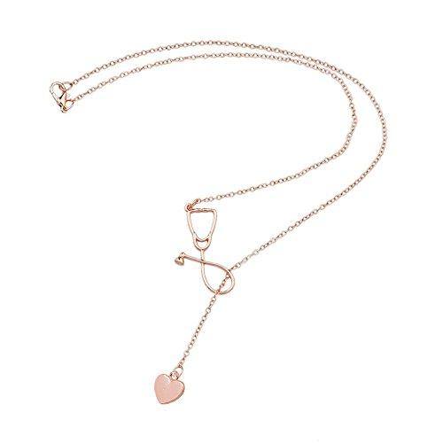 Merssavo Roségold Arzt Krankenschwester Medizin Stethoskop Herz Liebe Anhänger Halskette Geschenk