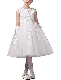 80a75ad4f6eea VKStar® Robe Enfant Princesse Tulle et Dentelle sans Manche Robe Fille  Cérémonie Soirée ...