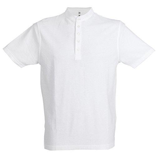 Chemagliette! polo manica corta da lavoro uomo t-shirt con colletto alla coreana cotone piquet jrc kuwait, colore: bianco, taglia: 2xl