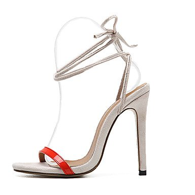 Damen-High Heels-Kleid-Vlies-Stöckelabsatz-Club-Schuhe-Schwarz Rot Mandelfarben Red