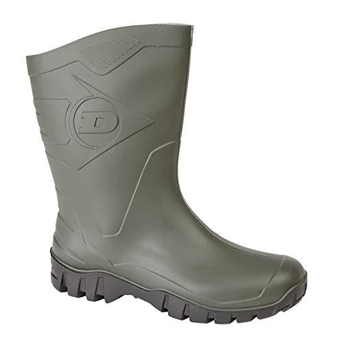 DUNLOP Short Leg Half-Height Wellies Easier On & Off Good For Wider Calf Fitting,Green/Black Sole,9 UK
