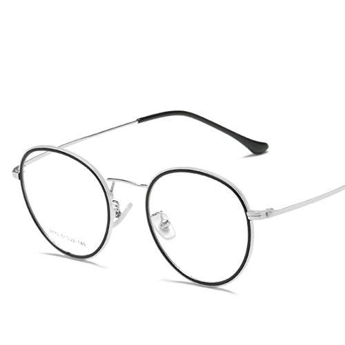 Mkulxina Anti-Blaue Gläser Computer Schutzbrille Glasrahmen Mode Gläser für Frauen Männer (Color : Black Silver)