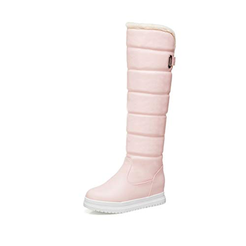 Rosa Winter Stiefel (HAOLIEQUAN Pu Leder Frauen Über Die Stiefel Mode Slip Auf Keile Ferse Mode Winter Stiefel Damen Schuhe Größe 34-43,Rosa,41)
