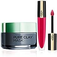 L'Oreal Paris Rouge Signature Matte Liquid Lipstick,114 I represent, 7g And L'Oreal Paris Pure Clay Cl