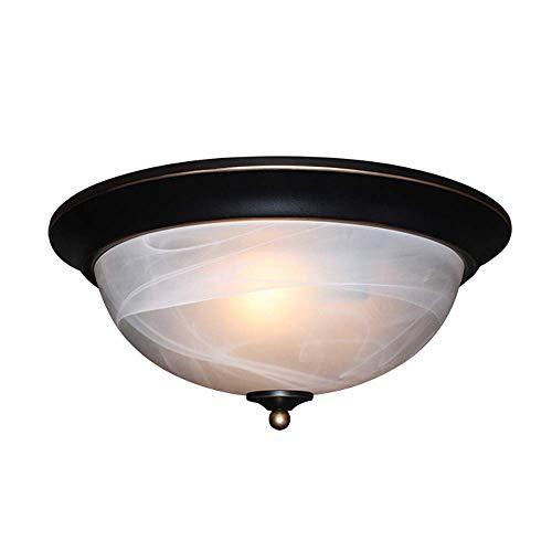 SXRL E27 Retro Deckenleuchte Deckenlampe Runde Wohnzimmerlampe Schlafzimmerlampe Ø33*H15 cm 3 Flammig Europäische Deckenbeleuchtung Alabaster Glas Lampenschirm (Ø33cm) -