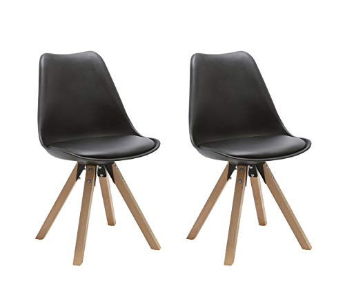 Duhome Elegant Lifestyle Stuhl Esszimmerstühle Küchenstühle !2 er Set! in Schwarz Küchenstuhl mit Holzbeine Sitzkissen TYP9-518M Esszimmerstuhl Retro Küchenstuhl Farbauswahl -