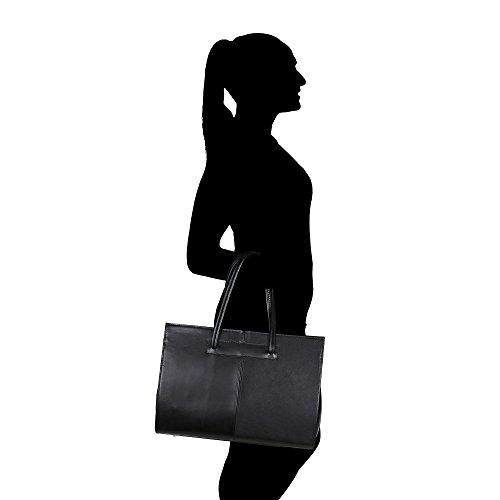 Borsa a Mano Portadocumenti da Donna con Tracolla in Vera Pelle Made in Italy Chicca Borse 39x30x11 Cm Nero