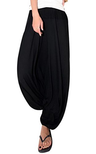Aivtalk - Pantalones Ancho Arabe Bombachos Harem Mujeres Unisex Palazzo de Lino Suave para Mujeres Estilo Casual Vida Cotidiana Verano - Negro