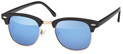 Retro Vintage Clubmaster Sunglasses Sonnenbrillen mit 1/2 Rahmen und schwarz-goldenes Gestell, mit getönten Gläsern (Blue)