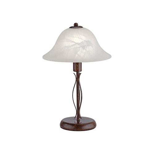 Tischleuchte Alabaster-Dekor Glas, Landhaus Romantik antik rustikal Edel-Rost, E14 LED-fähig Wohnzimmer (Tischleuchte, 37cm)