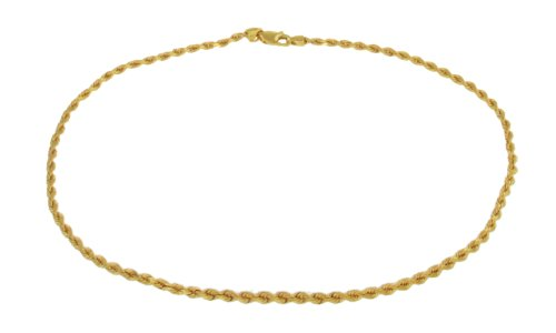 """Carissima Gold 9ct Yellow Gold Semi Hollow Diamond Cut Rope Anklet of 25cm/10"""""""