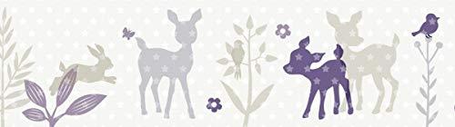 lovely label Bordüre selbstklebend HÄSCHEN & REHE LILA/GRAU/BEIGE - Wandbordüre Kinderzimmer/Babyzimmer mit Hase & REH - Wandtattoo Schlafzimmer Mädchen & Junge - Wanddeko Baby/Kinder