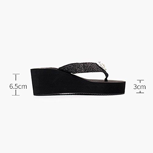 PENGFEI sandali delle donne Pantofole in pantofole di Summer Beach Rhinestones femminili flip flop Piedini spessi Calzature antiscivolo Cool pantofole Confortevole e traspirante ( Colore : Nero , dime Rosa