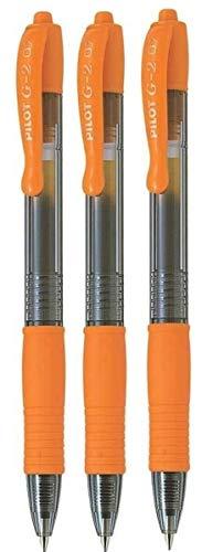 Pilot G2 07-Orange Fine Tintenroller / Gelschreiber, mit 0,7 mm Spitze, 0,39 mm Strichbreite, nachfüllbar BL-G2-7 (3 Stück)