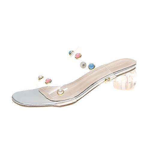 FNKDOR Schuhe Damen Blockabsatz Hausschuhe Peep-Toe Pantoffeln Durchsichtig One Band Strass Slipper Mules Sandalen Silber 38 EU Tone Peep Toe Slingback Sandal