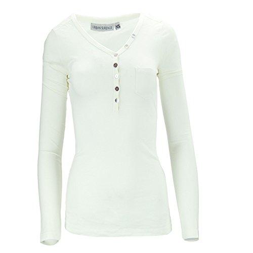 Urban Surface Damen Langarmshirt Longsleeves Shirt Weiß/Creme