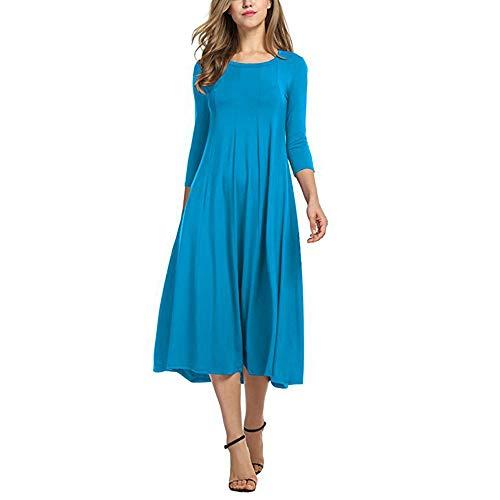 IZHH Kleider Damen beiläufige halbe Hülsen lose Lange Hülsen Kleid Damen Abend langes Maxi Kleid Normallack Mode Kleid Partei tägliche Oberbekleidung(Hellblau,Medium)