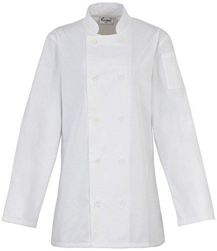 Premier Damen Langärmlig Angepasst Arbeitskleidung Küchenchef Weiß Uniform Mantel Jacke - XL (Küchenchef Mantel)