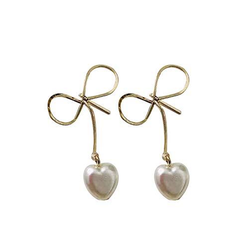 Pegcdu Mädchen Höhlebowknot Ohrring-Frauen-Herz-Perlen-Anhänger Earclip 925 Silber Pin-Ohr-Bolzen-Schmucksachen