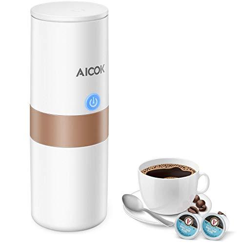 Cafetera Café Portátil Aicok, K-Cup Cafetera Automatizada, Máquina de Café Eléctrica para Viajes, Operación Sencilla con un Solo Botón, Perfecta para Conducir un Automóvil y en Cualquier Lugar