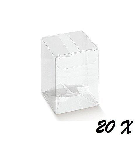 Irpot - 20 x scatola portaconfetti in pvc 9 x 9 x 12 cm 94037