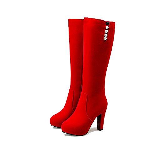 AllhqFashion Damen Rund Zehe Reißverschluss Hoch-Spitze Hoher Absatz Mattglasbirne Stiefel Rot