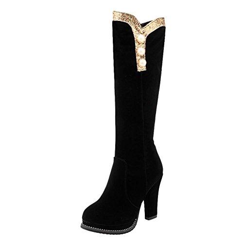 Mee Shoes Damen high heels runde langschaft Nubukleder Stiefel (36, Schwarz)