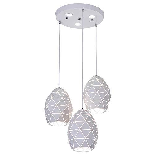 WYJW Nordische Einfachheit geometrische 3-Lichter Küche Insel Kronleuchter Triple 3 Köpfe Anhänger hängende Decke Leuchte mit Ei Art Schmiedeeisen Hohl Lampenschirm -