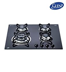 Glen Toughened Glass Tempered 4 Burner Kitchen Hob (Black) - 1065