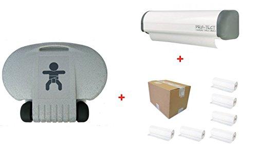Hygiene-shop Top-Select Set Table à Langer Horizontale + Porte-Rouleau Papier Economic + Carton avec 6 Rouleaux de Papier