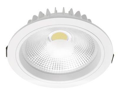 LED COB Einbaustrahler Einbauspot Downlight 20 Watt rund aluminium mit Trafo warmweiß mit Reflektor mit weißem Metallrahmen und Blendschutz von Goliath bei Lampenhans.de