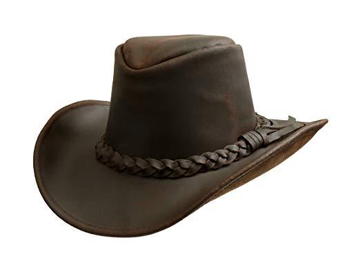 Kakadu Traders Australia Western | Cowboy Lederhut Ranger mit formbarer Krempe und geflochtenem Hutband -
